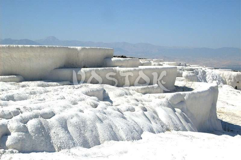 White snow travertine in Pamukkale Turkey