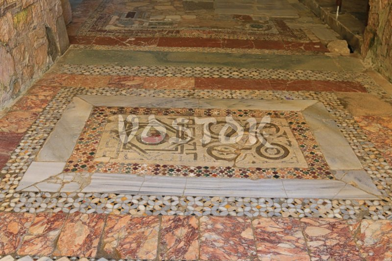 Floor mosaic in St. Nicholas Church - Guided tour from Oludeniz Hisaronu Fethiye to Kas Kalkan Myra Kekova