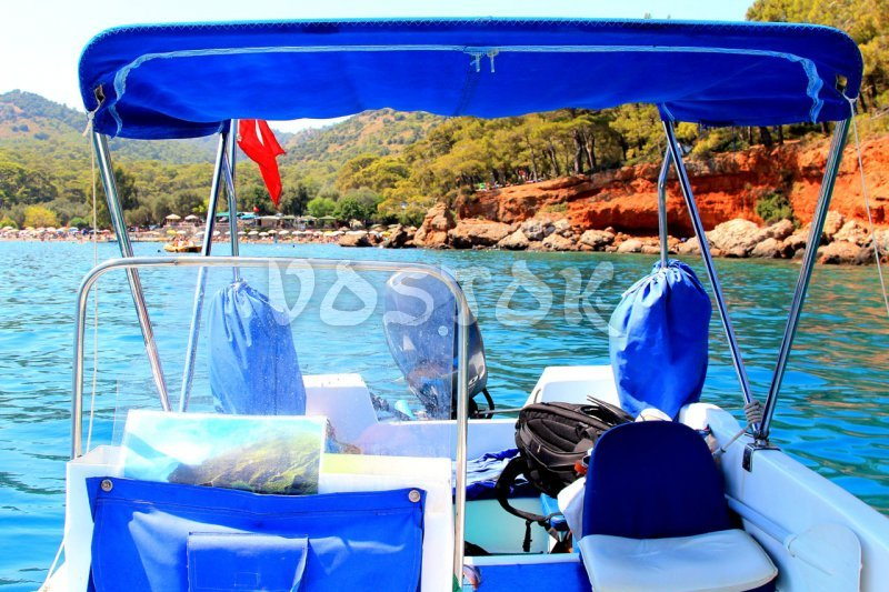 Speed boat - view from the prow - Gemiler beach is on background - Oludeniz Speed Boat Hire