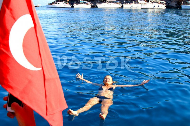 Water is pure and transparent in Oludeniz like in the swimming pool
