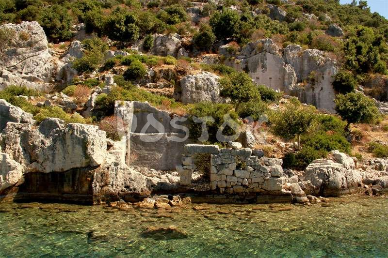Remains of sunken city at Kekova Island - Fethiye to Kas Trip