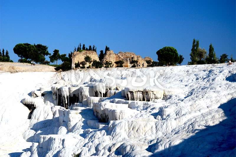 Snow white calcium travertine in Pamukkale