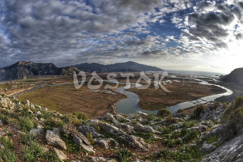 Dalyan channels from the top - Dalyan Mud Bath Tour
