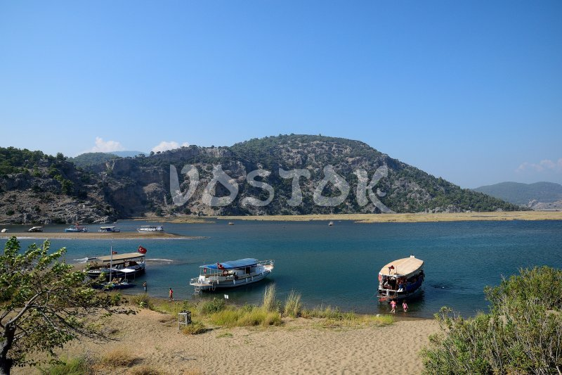Boats moored at Iztuzu spit - Dalyan Mud Bath Tour