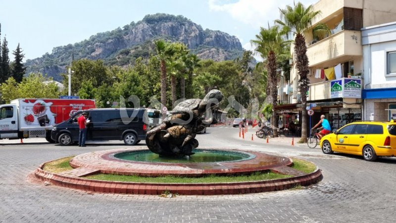 Statue of Caretta Caretta turtle in the center of Dalyan town