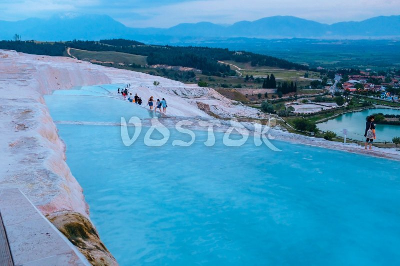 Blue waters of Pamukkale pools