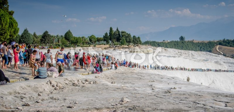 Pamukkale natural wonder is popular travel destination whole year