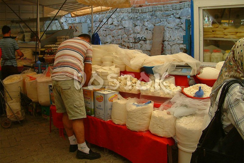 Different types and kinds of white cheese at Fethiye market
