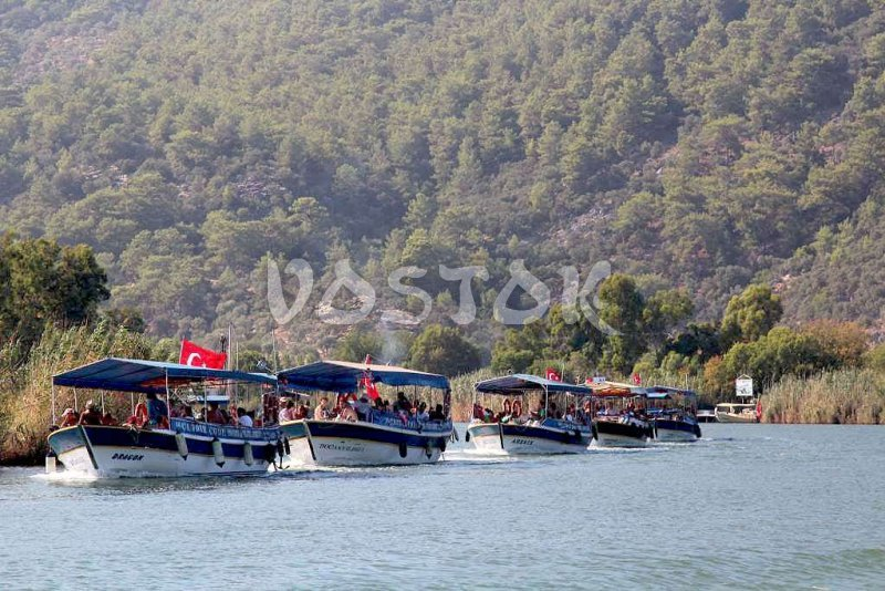 Boats on Dalyan River - Dalyan Mud Bath Tour
